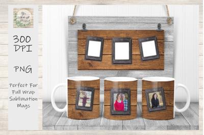 Full Wrap Sublimation Mug Design, Rustic Photo Mugs