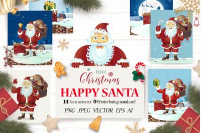 Santa Claus Merry Christmas Set