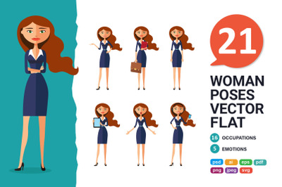Business woman Character Cartoon collection in different poses
