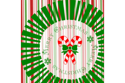 Merry Christmas Candy Cane Printable available in 3 sizes 6x6, 8x8 and