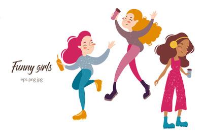 Funny girls with take-away coffee