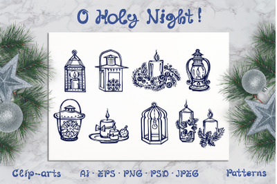 Hand drawn candles and lanterns, patterns and greeting cards