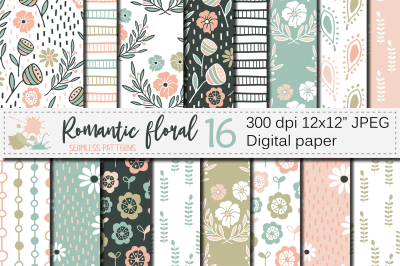 Romantic floral seamless digital paper / Pastel floral patterns