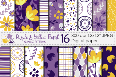 Purple and yellow floral seamless digital paper / Floral patterns