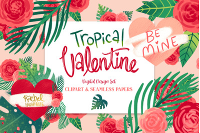 Tropical Valentine Clipart & Pattern Collection