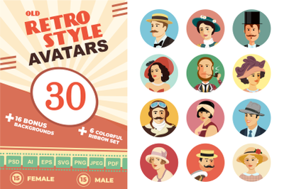Avatars Retro people vector cartoon collection