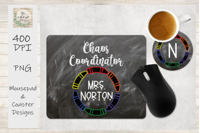 Teacher Mouse Pad and Coaster Design Set, Perfect for Sublimation