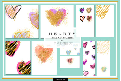 Hearts. Set of 10 cards #2