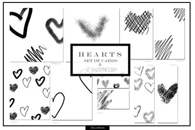 Hearts. Set of 10 cards #3