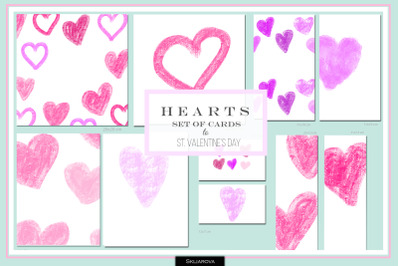 Hearts. Set of 10 cards #4