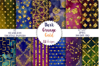 Dark Grunge Gold Foil Digital Papers, Grunge Watercolor Textures