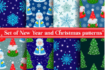 Set of seamless New Year and Christmas patterns