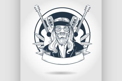 Hand drawn sketch hippie man1