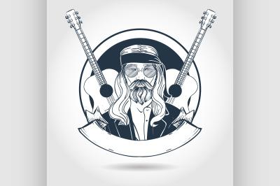 Hand drawn sketch hippie man3