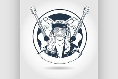 Hand drawn sketch hippie man5