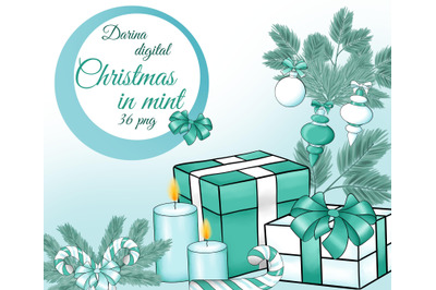 Christmas in mint clipart