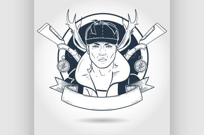 Hand drawn sketch hunter man 2