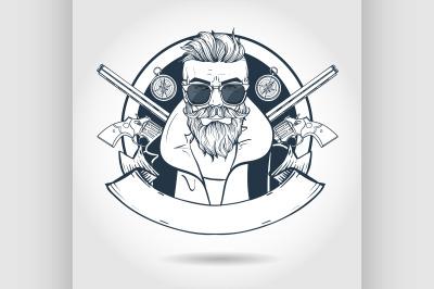 Hand drawn sketch hunter man 5