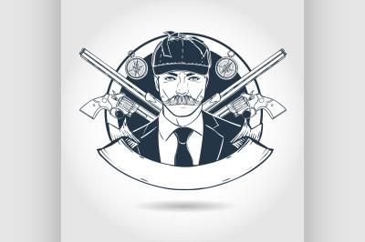 Hand drawn sketch hunter man 8