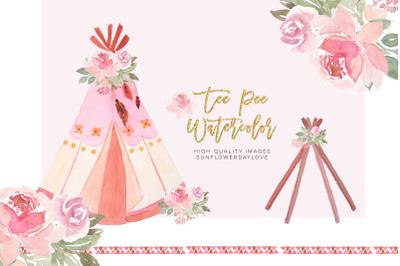 Floral Tee Pee Clipart Printable, Pink Peach Nursery Art clip art