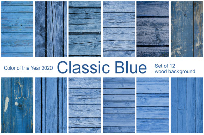 Classic Blue. Set of 12 wood background. Color of the year 2020