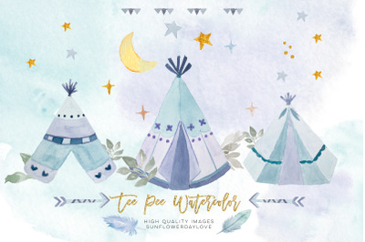 Watercolor boho teepee clipart, arrow & feathers blue clip art