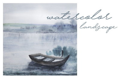 watercolor landscape with a lake and boat