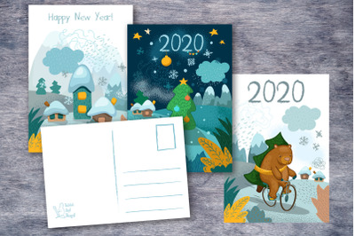 2020 New Year Greeting Postcards with Back Side