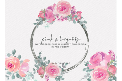 Pink and Turquoise Watercolor Floral Clipart Set