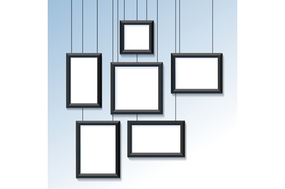 Blank Pictures or Photo Frames on the Wall. Vector illustration.