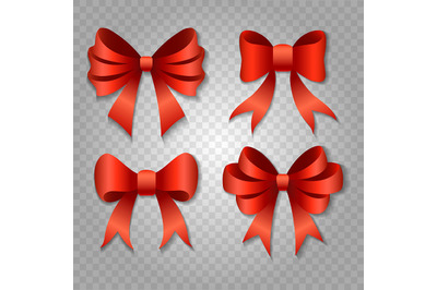 Red bow set isolated on transparent background. Vector ilustration