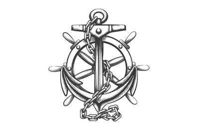 Anchor and Ship WheeL Tattoo in engraving Style. Vector illustration