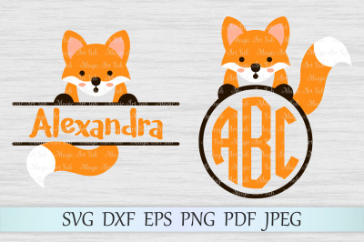 Fox svg, Animal svg file, Fox monogram svg, Fox split monogram svg