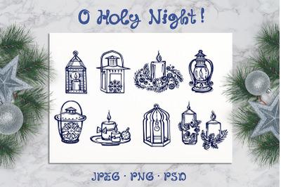 8 hand drawn Christmas candles and lanterns