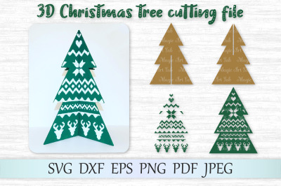 3D Christmas tree svg, 3D Christmas tree template, Christmas tree svg