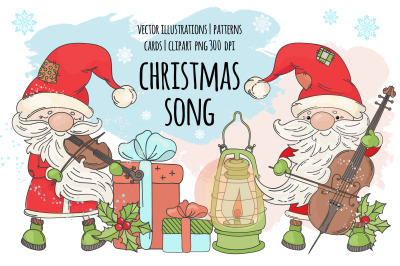 CHRISTMAS SONG New Year Santa Music Vector Clip Art Pattern Set