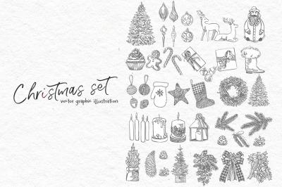 Xmas set graphic illustrations