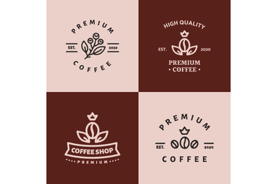 bundling coffee shop logos template vector for premium coffee business