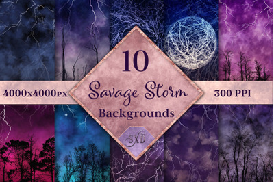 Savage Storm Backgrounds - 10 Image Textures Set