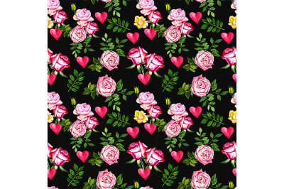 Seamless Love pattern with roses and heart
