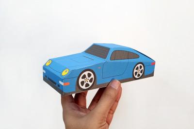 DIY Porsche car favor - 3d papercraft