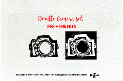doodle camera clipart set 1 , black and white verion
