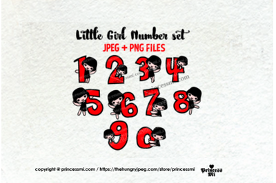 little girl Number set , 1 to zero number clipart set