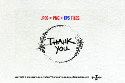 Thank You graphic, with floral, jpg, png & eps file
