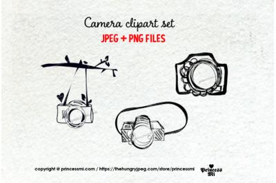 doodle camera clipart set 4