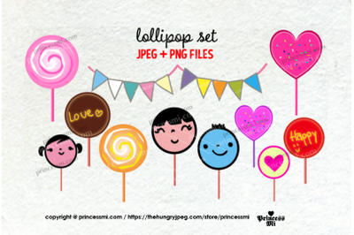 Cute lollipop clipart set