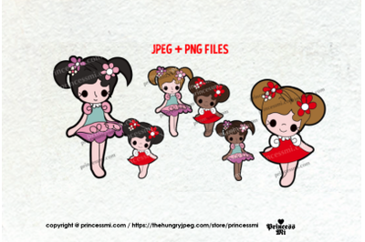 Little Girls illustration clipart set