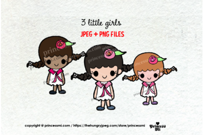 little girl clipart set