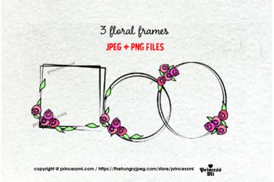Floral frame clipart set
