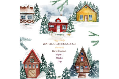 Houses watercolor clipart, mountains,cozy home, Christmas,